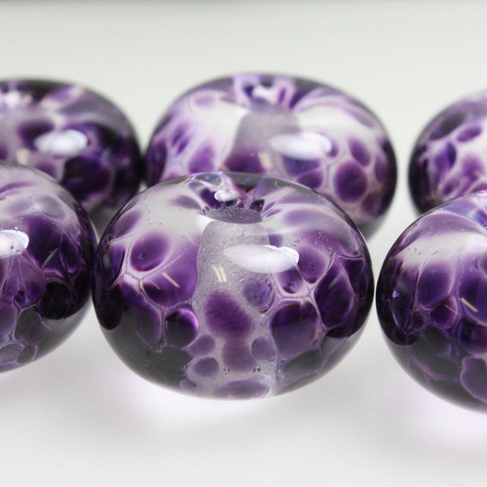 Large Hole Purple Lampwork Beads