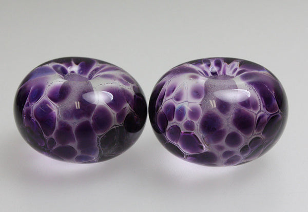2 Large Hole Purple Lampwork Beads