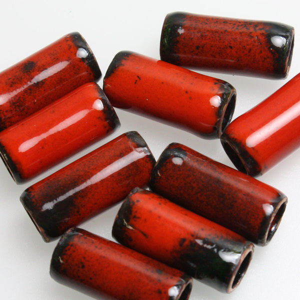 Red Enamel Copper Tube Beads