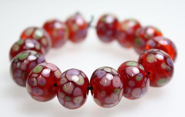 Red and Pink Lampwork Beads