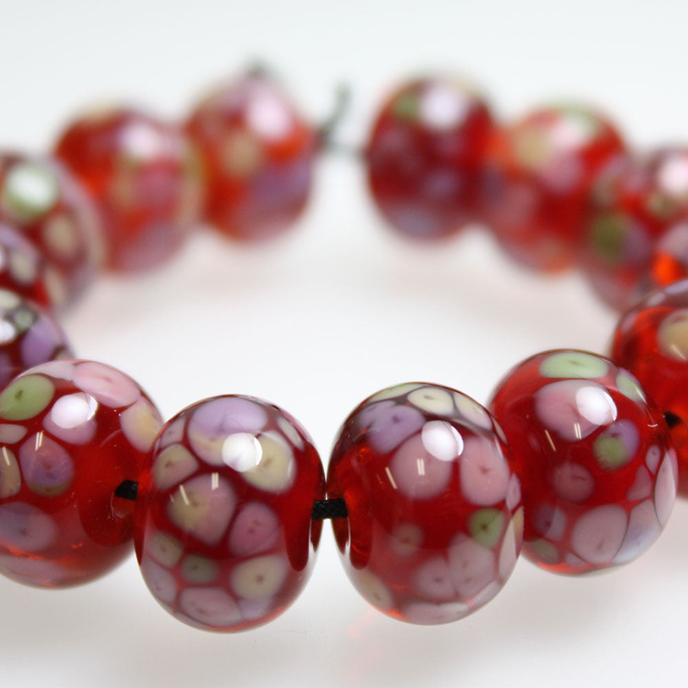 Sangria Red and Pink Lampwork Beads