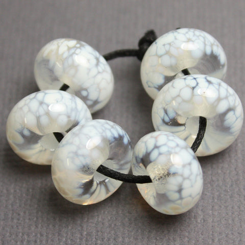 White on Clear Large Hole Lampwork Beads