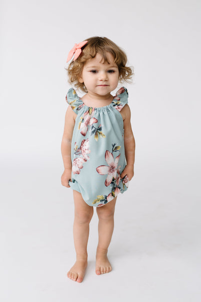 June Romper- Mint Floral
