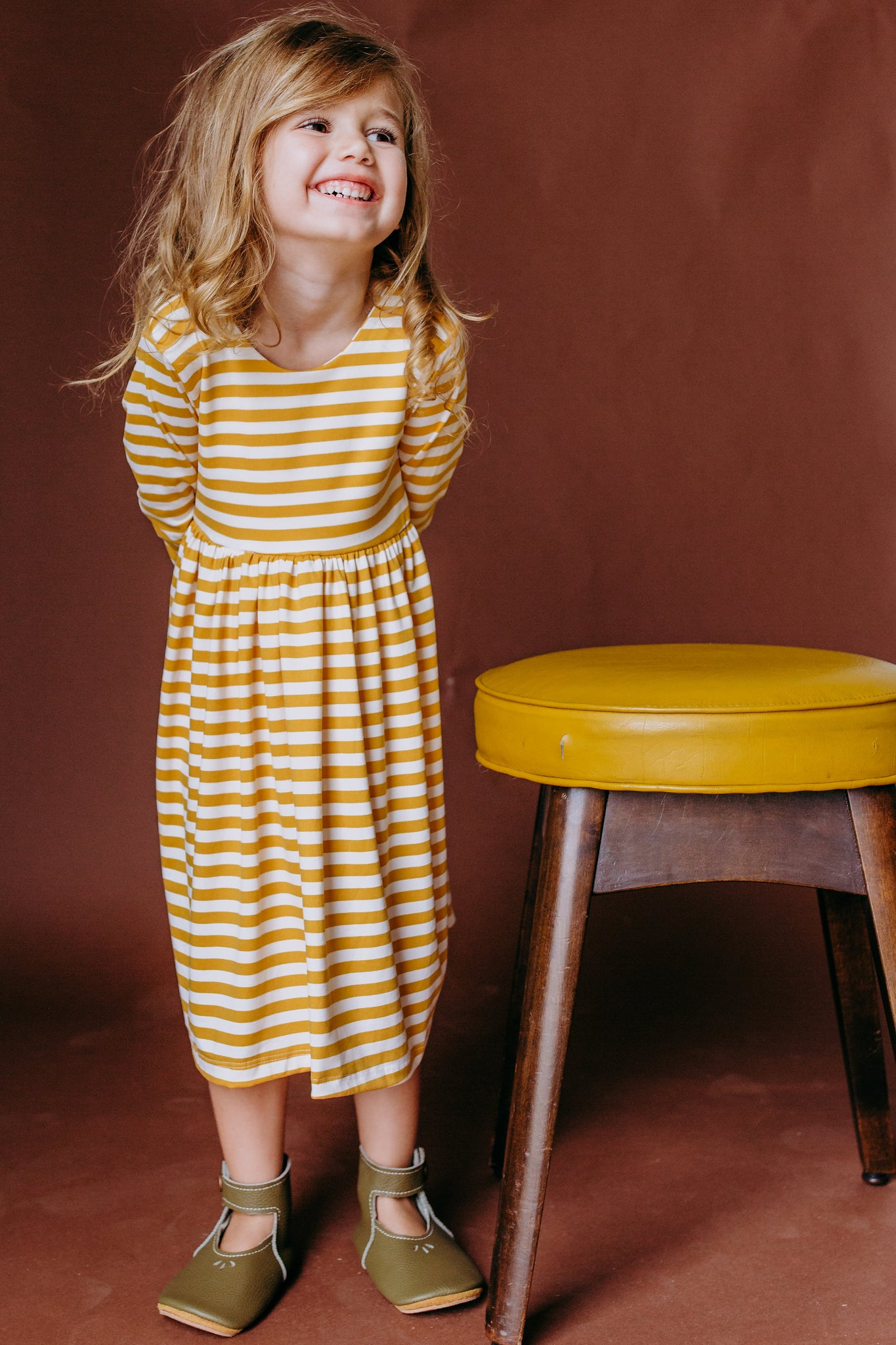 Daily Dress in Mustard Stripe