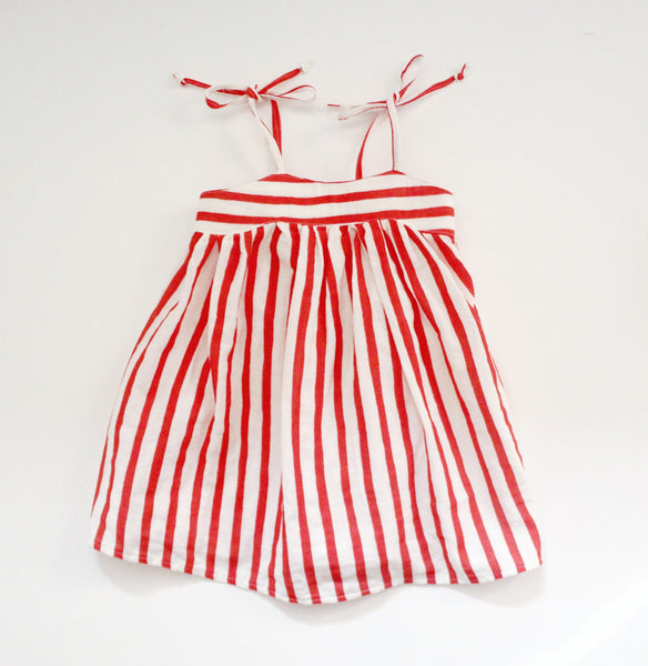 RTS- Elle Red coral Stripe