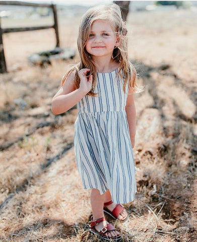 Summer Dress- Indigo Stripe