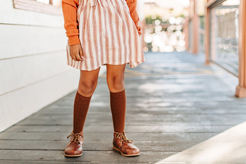 Suspender Skirt in Antique Red stripe