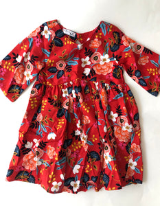 Red Rifle Paper Tunic-3/4 sleeve (size 4)