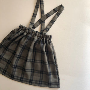 Suspender Skirt in Olive Plaid