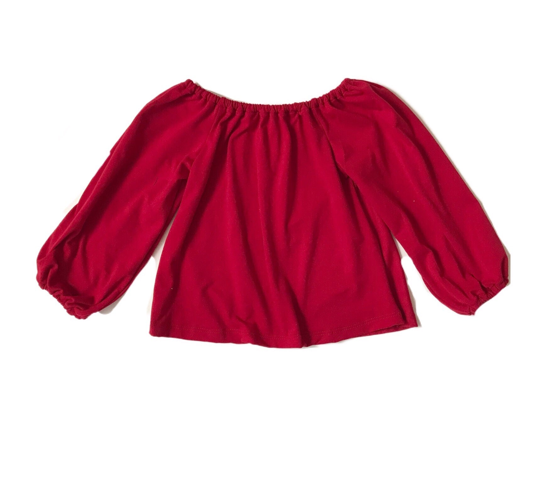 MADE TO ORDER- Smock Top in Red with bow