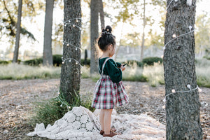 Suspender Skirt in Winter Plaid
