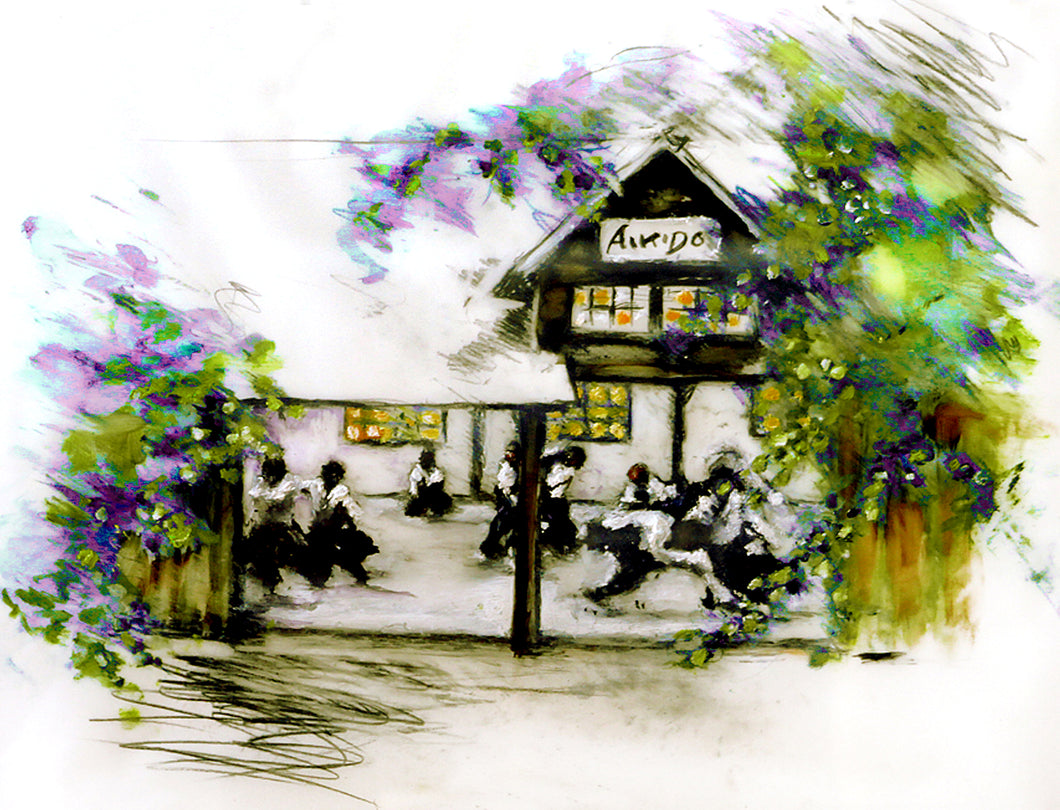 Original Aikido Artwork | Dojo In Spring Archival Print