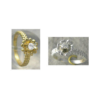 Diamond Floral Promise Solitaire Ring 10kt White or Yellow Gold SIZE 3-9