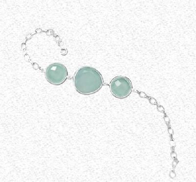 Three Stone Sea Green Chalcedony Bracelet