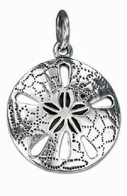 STERLING SILVER HIGH POLISH SAND DOLLAR CHARM WITH ANTIQUED DETAIL