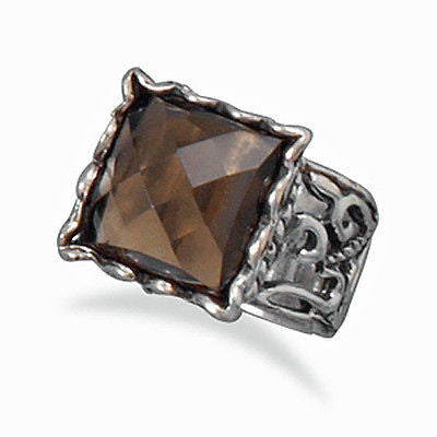 Sterling Silver Smoky Quartz Ring with Cut Out Design Band