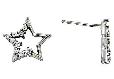 1/4ct Genuine Diamond Star Shaped Earrings 14kt White Gold