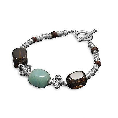 Sterling Silver Smoky Quartz and Amazonite Bead Toggle Bracelet