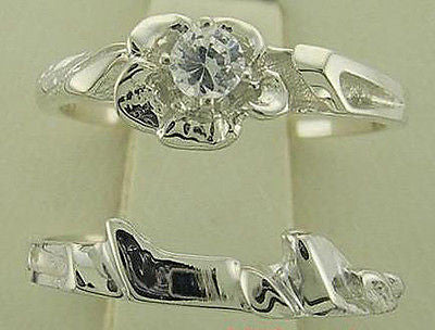1/10ct Floral Design Diamond Engagement/ Wedding Ring Set Silver
