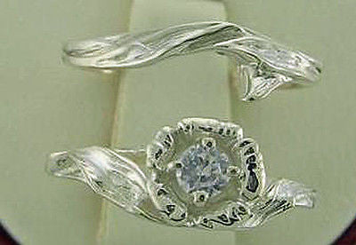 .10ct Floral Design Diamond Engagement/ Wedding Ring Set Silver