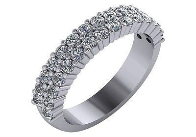 1 CT. T.W. Diamond Two Row Wedding Band in 14K White Gold Sizes 4-9