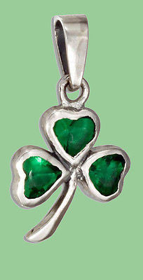 STERLING SILVER GREEN GLASS SHAMROCK PENDANT