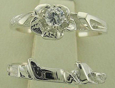 DIAMOND ENGAGEMENT RING WEDDING RING MATCHING SET 10KT WHITE GOLD