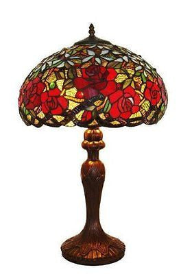 TIFFANY STYLE HAND-CRAFTED RED ROSES TABLE LAMP 24 IN