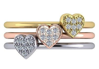 Diamond Stackable Heart Shaped Diamond Ring In 14kt White, Yellow or Rose Gold