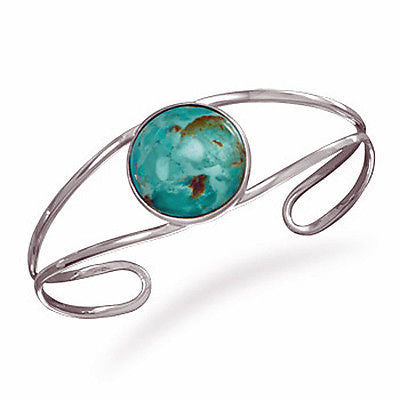 Sterling Silver Open Band Cuff with Turquoise