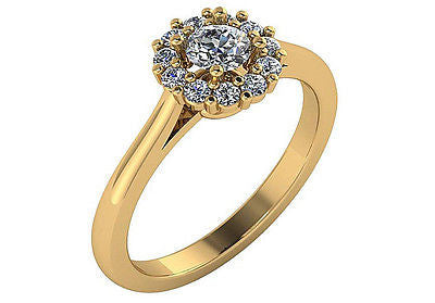 .50 ct Genuine Diamond Halo Engagement Ring 14kt Yellow Gold