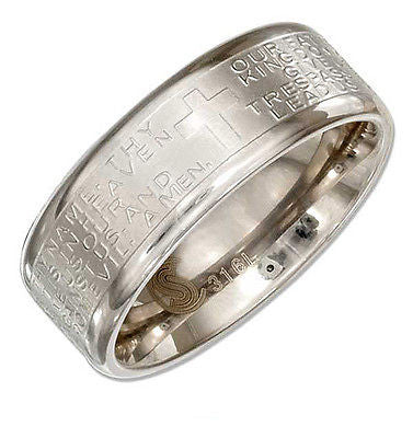 STAINLESS STEEL 8MM WEDDING BAND RING WITH LORDS PRAYER AND CROSS