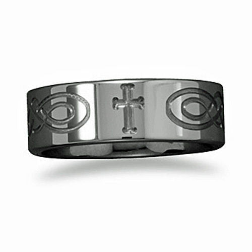 Tungsten Mens Band with Etched Cross