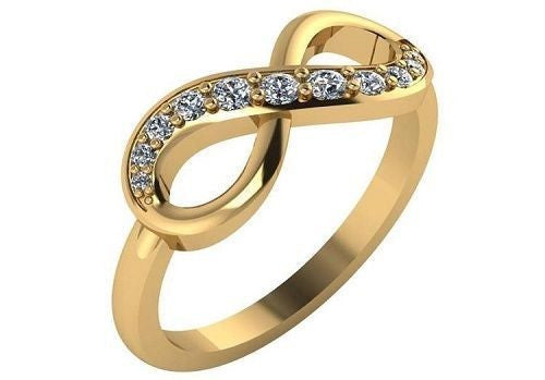 1/5th Carat Diamond Infinity Ring in 14k Yellow or White Gold Sizes 3-9