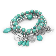 4 Silver Tone Multicharm Fashion Stretch Bracelets with Reconstituted Turquoise