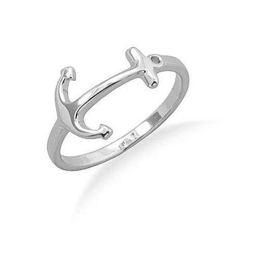 Rhodium Plated Sterling Silver Anchor Ring
