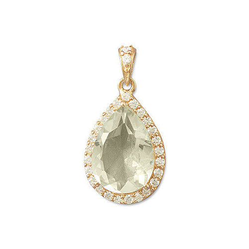 14K Rose Gold Plated Green Amethyst Pendant