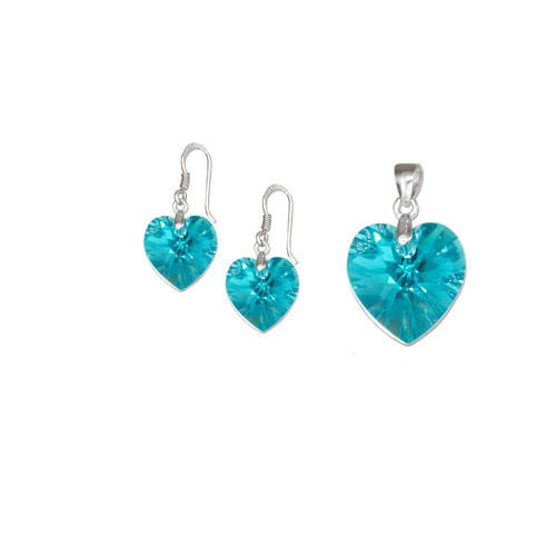 STERLING SILVER TEAL BLUE SWAROVSKI CRYSTAL HEART EARRINGS AND PENDANT SET