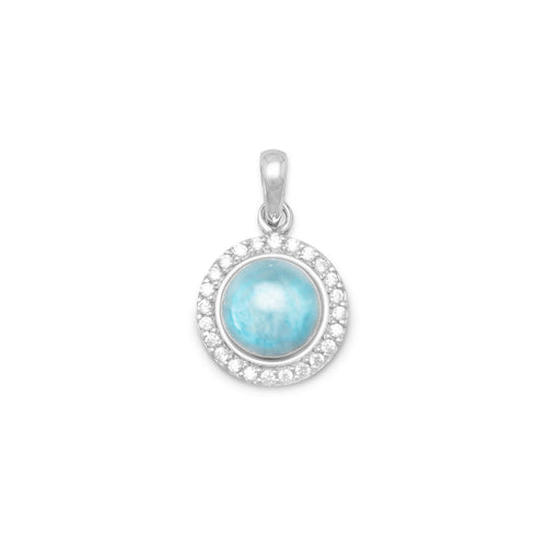 Rhodium Plated Round Sterling Silver Larimar and CZ Pendant