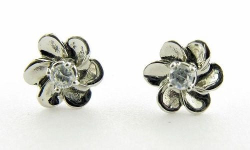 Genuine Diamond Flower Shaped Earrings 14kt White Gold