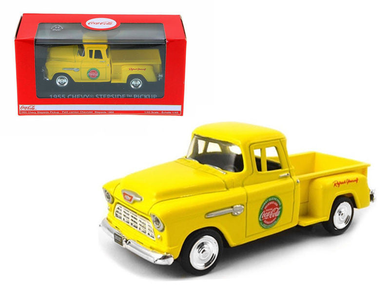 1955 Chevrolet Pickup Truck Stepside Coca Cola Yellow 1/43 Diecast Model by Moto