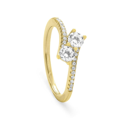 18 Karat Gold Plated Double CZ Ring with CZ Band Sizes 5-10