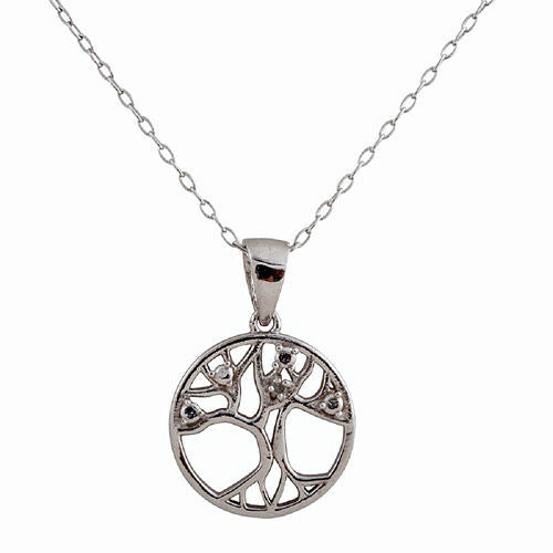 STERLING SILVER RHODIUM PLATED DIAMOND ACCENT TREE OF LIFE PENDANT, 18