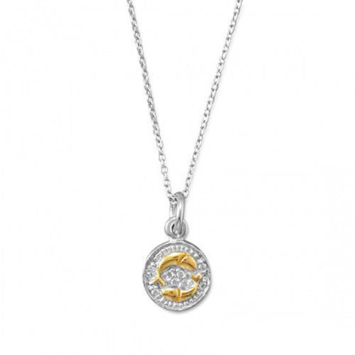 Sterling Silver Rhodium Plated Two Tone Zodiac Necklaces