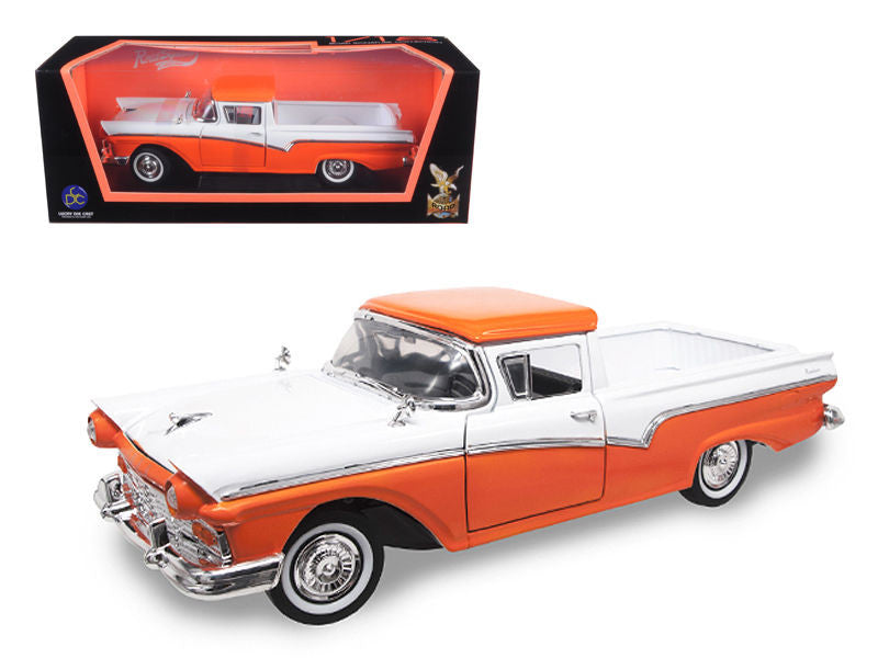 1957 Ford Ranchero Pickup Truck Orange 1/18 Diecast Model Car by Road Signature