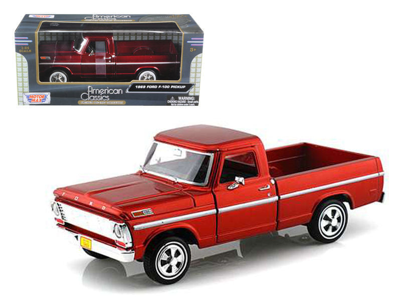 1969 Ford F-100 Pickup Truck Burgundy 1/24 Diecast Truck by Motormax