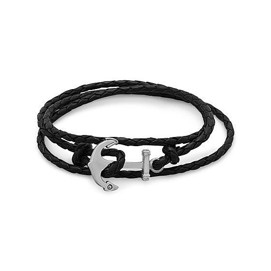 Men's Leather and Stainless Steel Anchor Fashion Wrap Bracelet