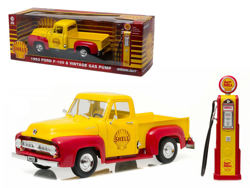 1953 Ford F-100 Pickup Truck Shell Oil with Vintage Gas Pump 1/18 Diecast