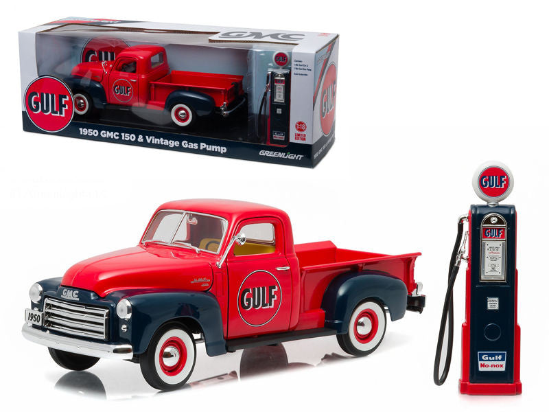 1950 GMC 150 Pickup Truck Gulf Oil with Vintage Gas Pump 1/18 Diecast Model