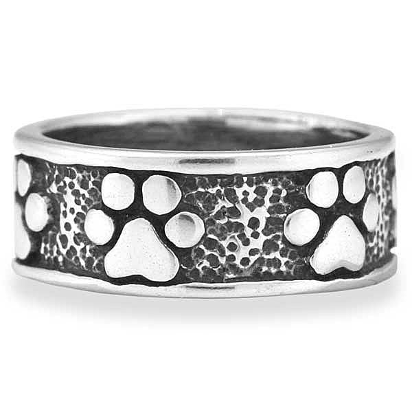 STERLING SILVER ETERNAL LOVE AND DEVOTION CONTINUOUS PAW PRINT BAND UNISEX RING